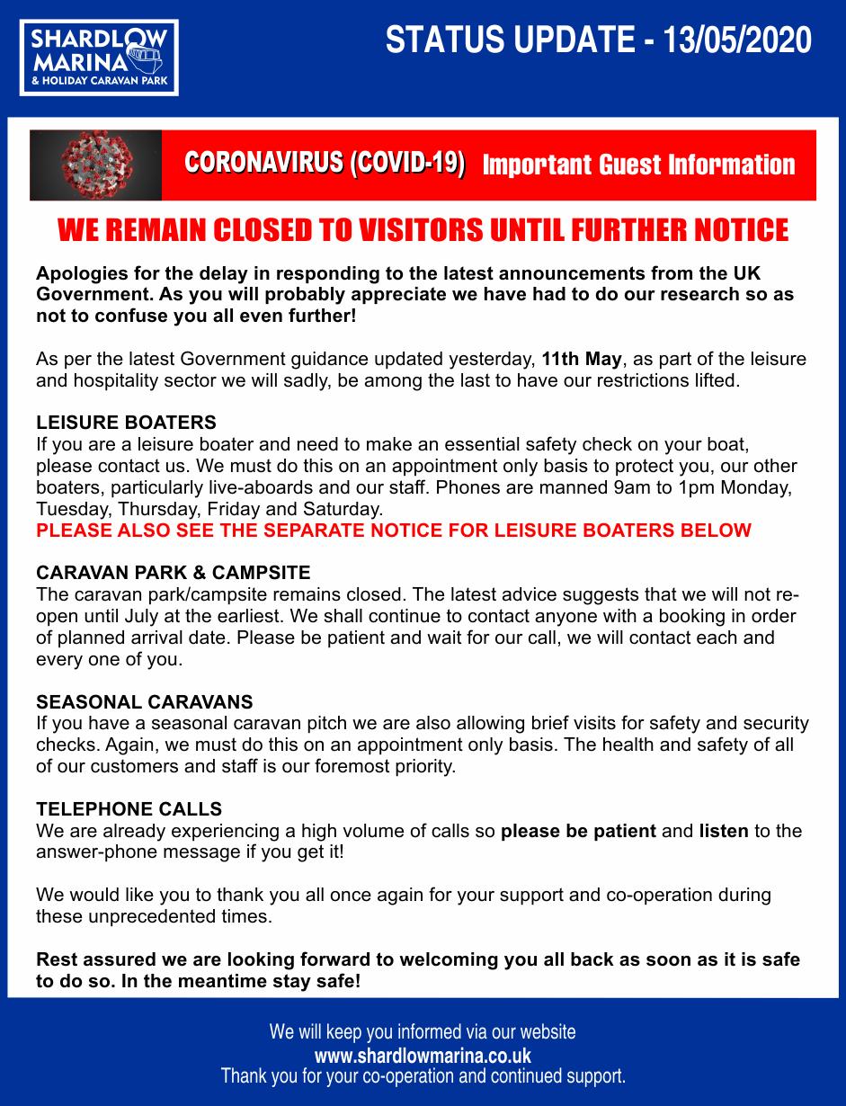 Shardlow Marina COVID-19 STATEMENT 13-05-2020