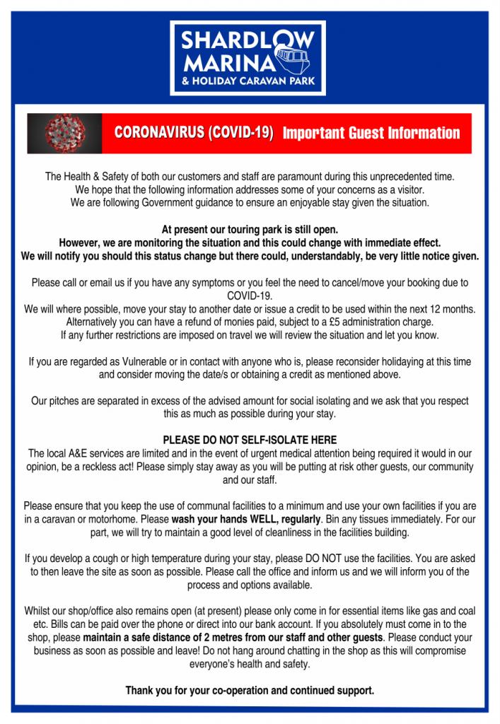 Shardlow Marina COVID-19 STATEMENT 21-03-2020