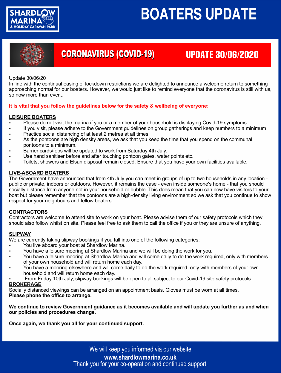 Marina COVID-19 BOATERS STATEMENT 30-06-2020