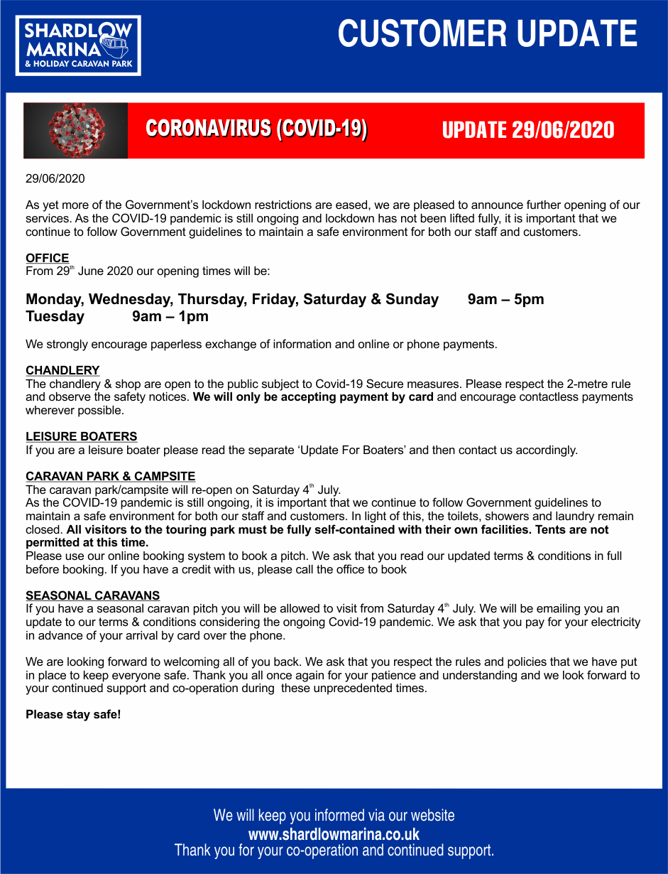Marina COVID-19 CUSTOMER UPDATE 29-06-2020 v1